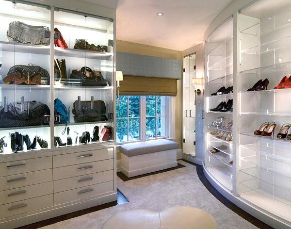 ديكور أرفف زجاج-أرفف زجاج لغرفة الملابس