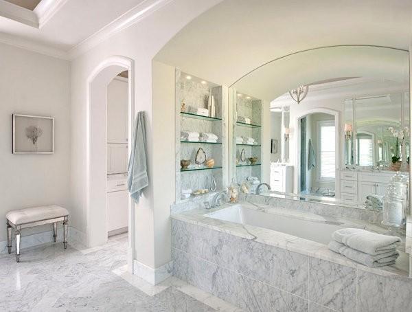 ديكور أرفف زجاج-أرفف زجاج في الحمام