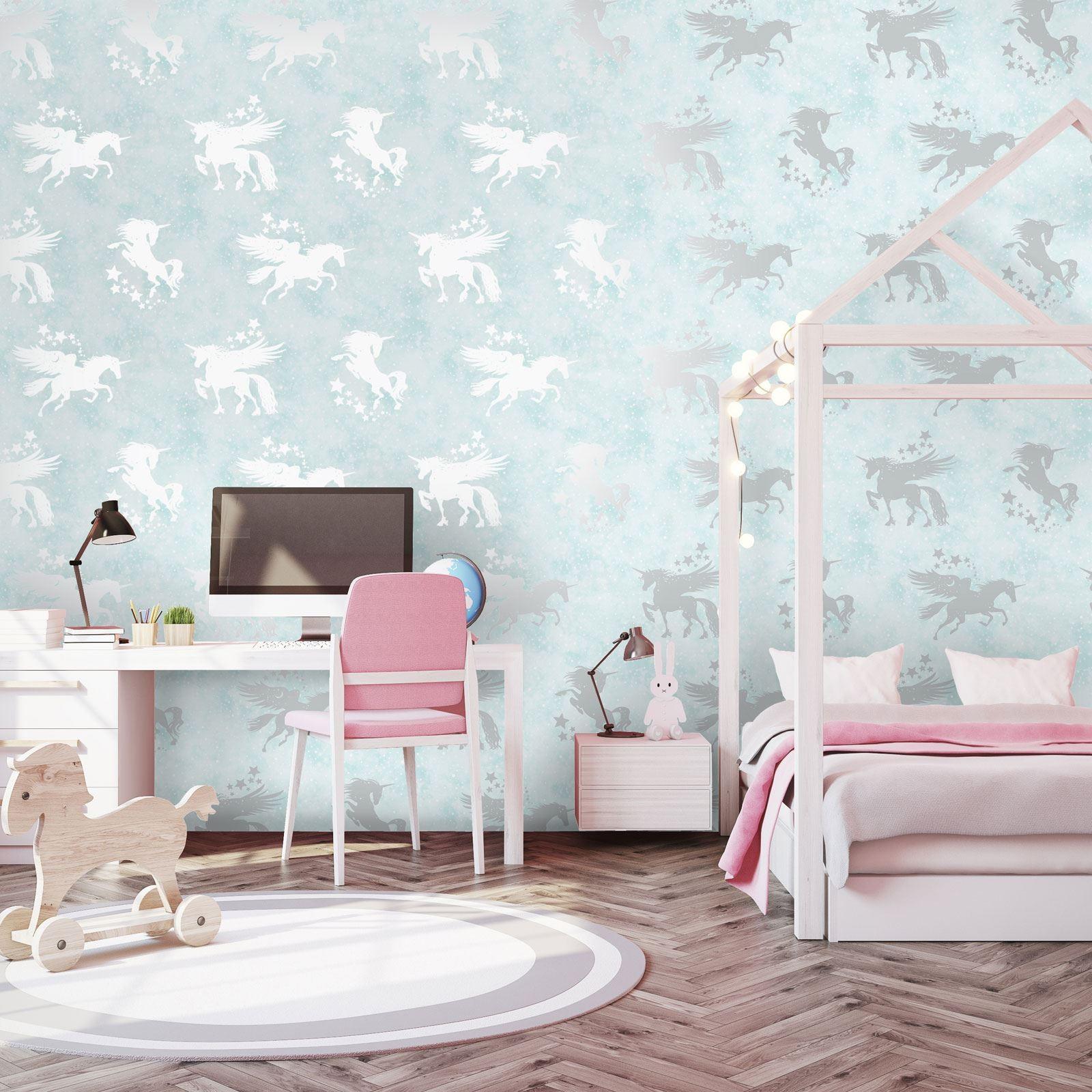 ديكورات غرف نوم للبنات 2021-ورق حائط حصان