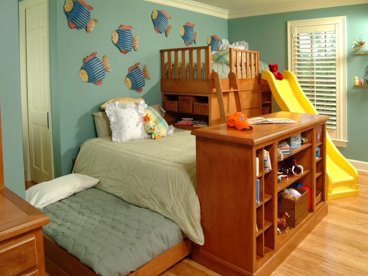 غرف نوم أطفال أولاد باللون البني-غرفة أطفال خشب