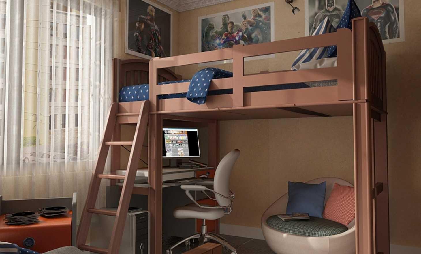 غرف نوم أطفال أولاد باللون البني-غرفة بسرير مرتفع