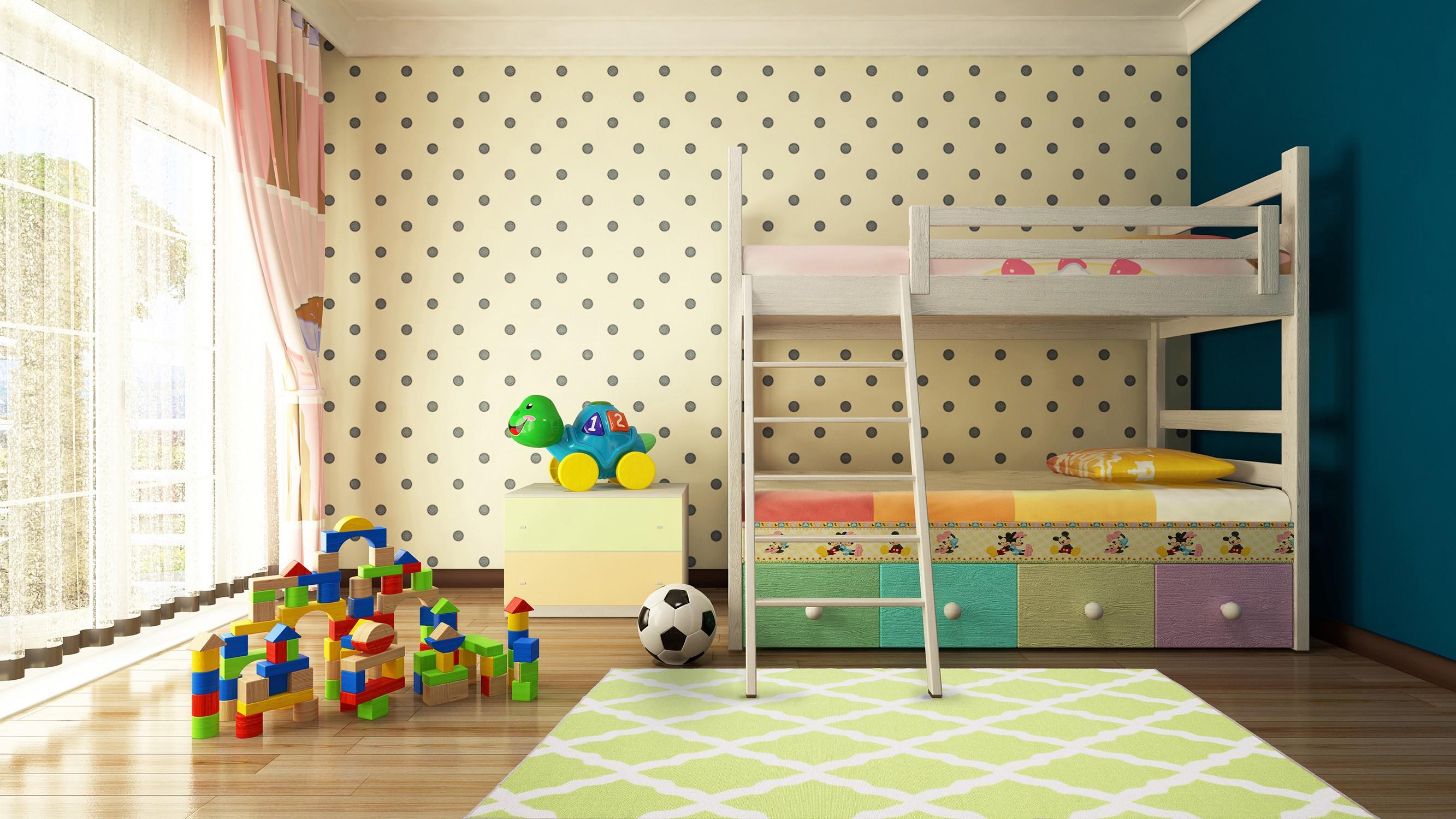 غرف نوم أطفال أولاد باللون البني-سجادة مربعات