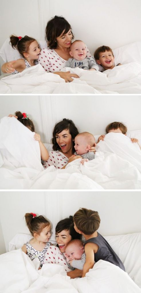 التصوير في عيد الأم-صورة الأم والأطفال في السرير