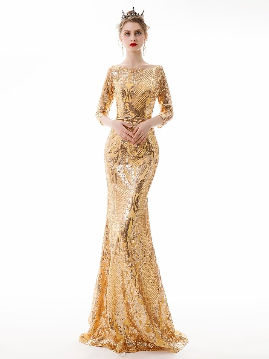 فساتين سواريه ذهبي-فستان ذهبي لامع