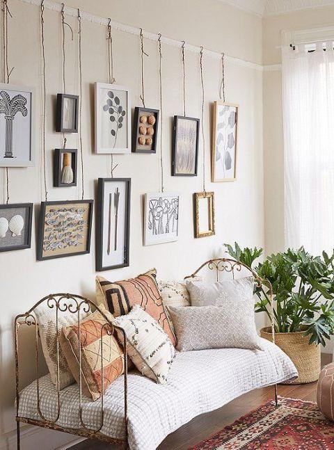 أفكار لتعليق الصور على الحائط - الخيوط المنسدلة
