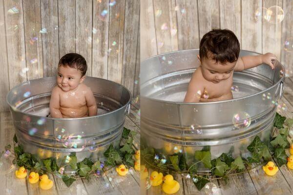 أفكار لتصوير الأطفال الرضع في المنزل - حوض الاستحمام