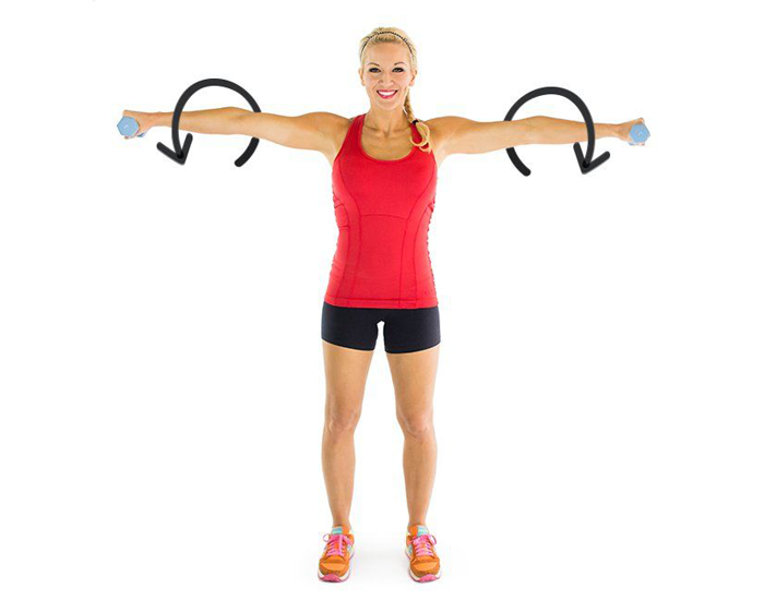 تمارين لتكبير الصدر - تمرين تدوير الذراعين لتكبير الصدر