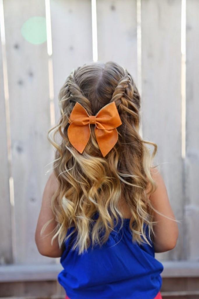 تسريحات للأطفال للمناسبات - الشعر المنسدل مع الضفائر