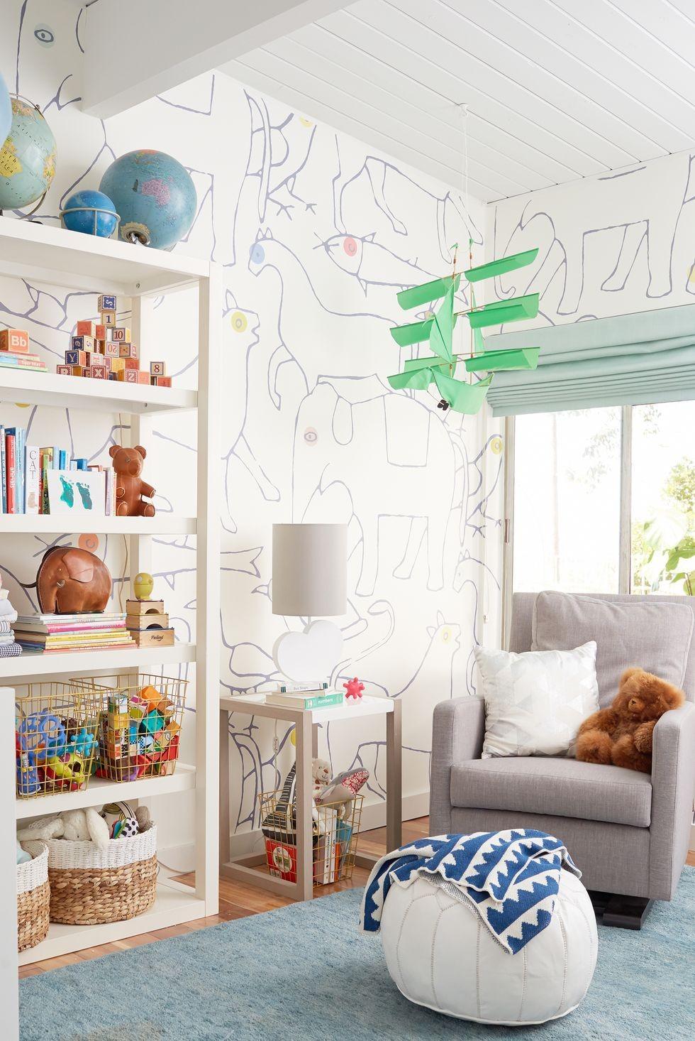 أفكار لغرفة نوم الرضع - ورق الحائط المطبوع