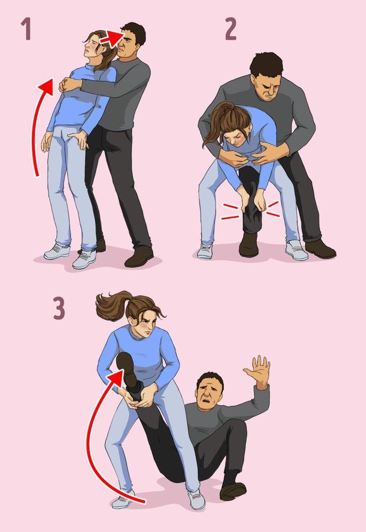 طرق الدفاع عن النفس للبنات - في حالة الهجوم من الخلف
