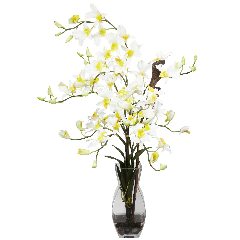 اشكال مزهريات ورد صناعي - زهور الدندربيون الحريرية