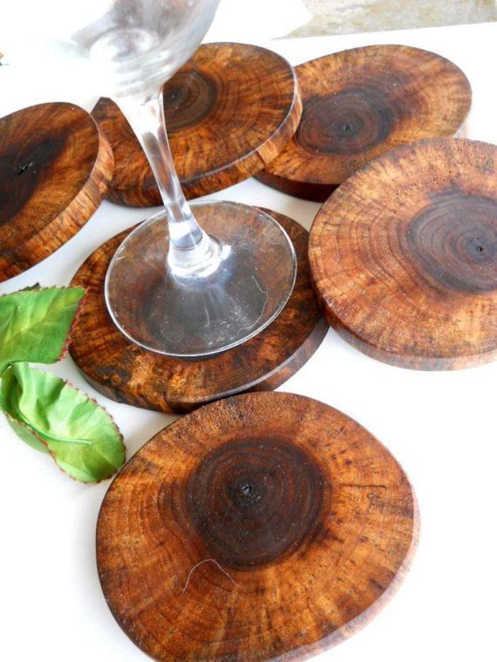اشكال تحف خشبية مودرن - كوسترات خشبية للمشروبات
