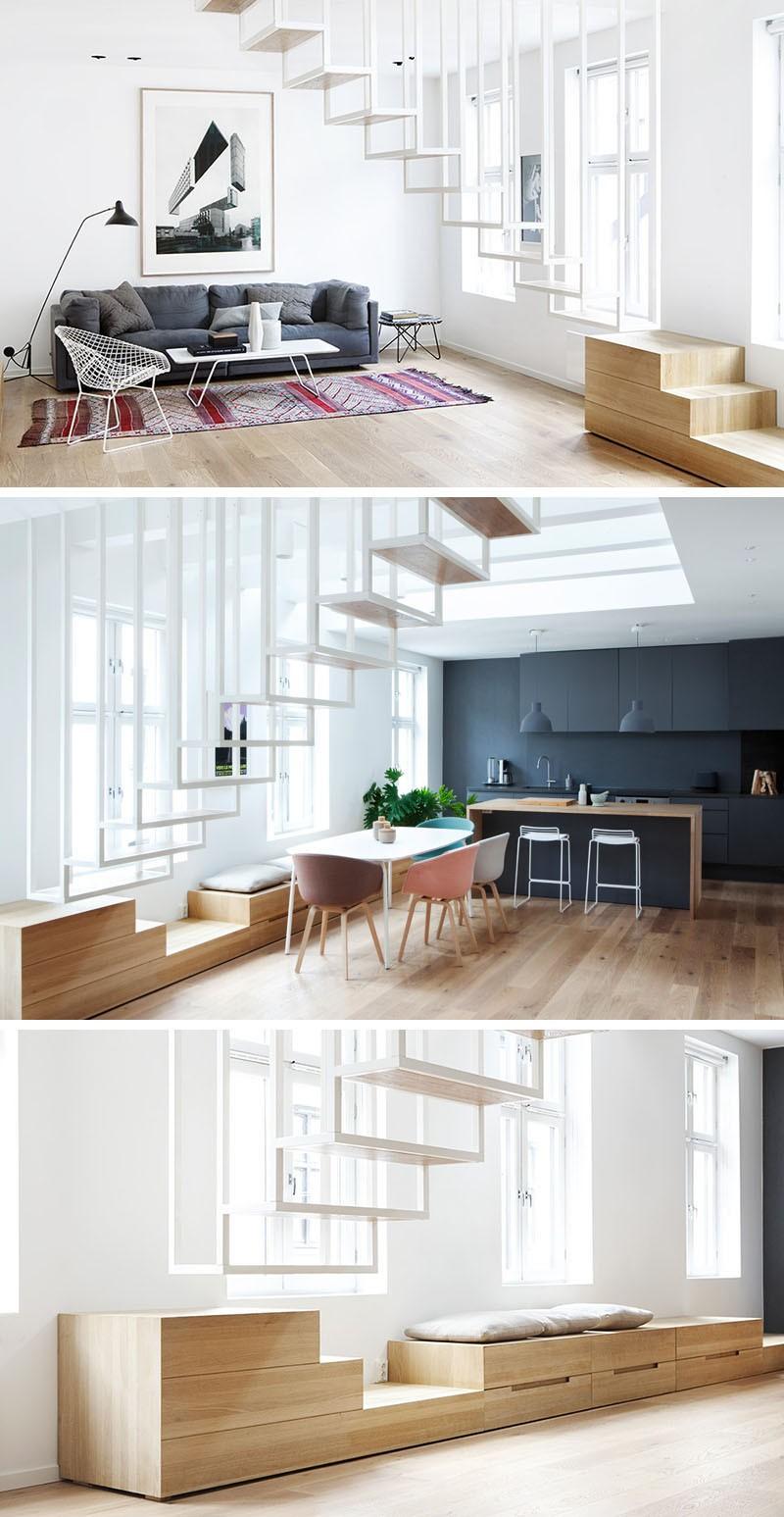 تصاميم سلالم داخلية مساحات صغيرة - السلالم المعلقة