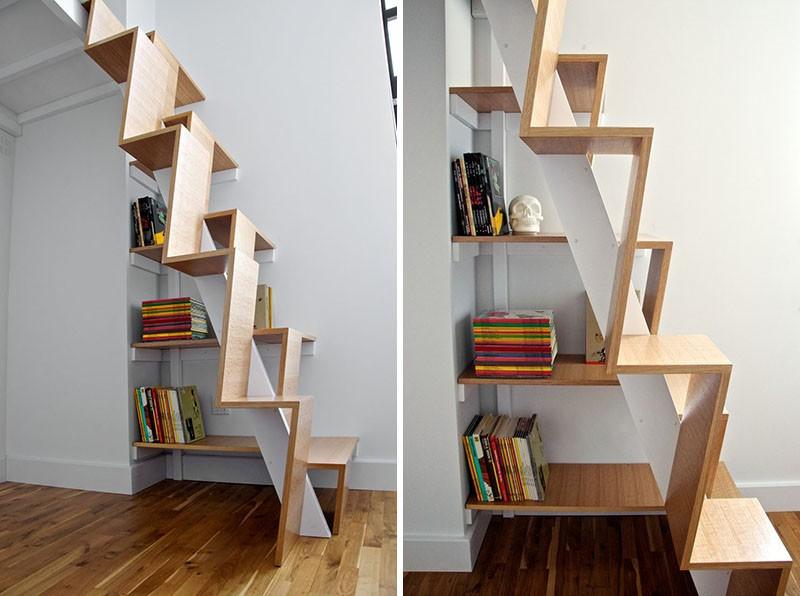 تصاميم سلالم داخلية مساحات صغيرة - السلالم المدمجة