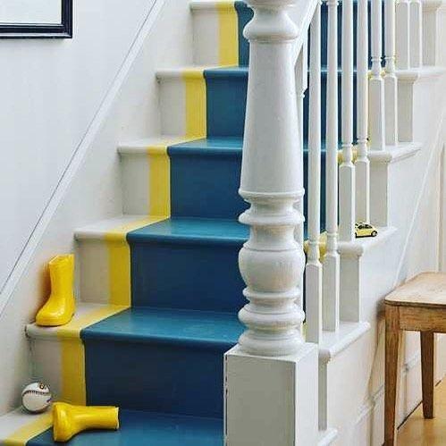 ألوان دهانات سلالم منازل داخلية - الأصفر والأزرق