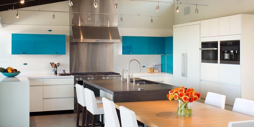 بالصور ديكورات للمطبخ باللون الازرق - خزانات المطبخ باللون الأزرق المائي