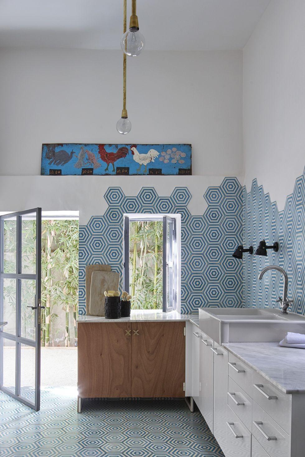 بالصور ديكورات للمطبخ باللون الازرق - حوائط المطبخ باللون الأزرق