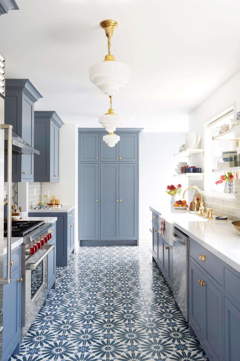 بالصور ديكورات للمطبخ باللون الازرق - سيراميك أرضيات أزرق