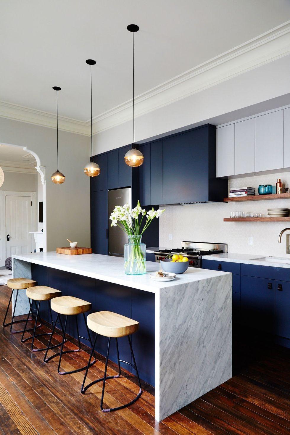 بالصور ديكورات للمطبخ باللون الازرق - المطبخ الأزرق مع الرمادي