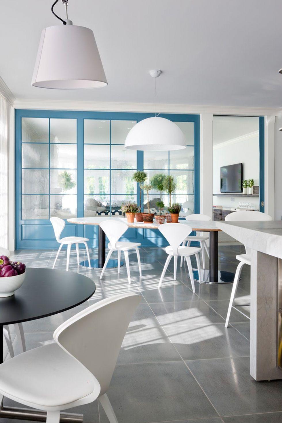 ديكورات باب للمطبخ - باب مطبخ أزرق فرنسي