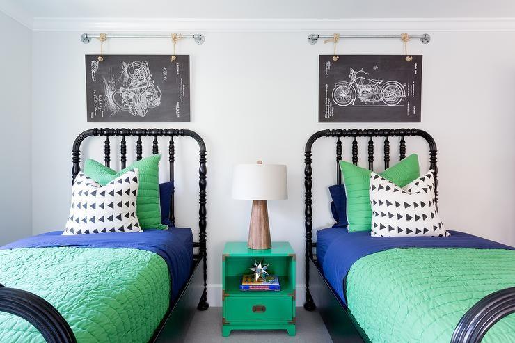 بالصور ديكورات لغرف نوم أطفال أولاد باللون الاخضر - مفروشات باللون الأخضر