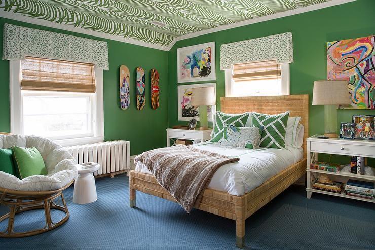 بالصور ديكورات لغرف نوم أطفال أولاد باللون الاخضر - ورق الحائط والأسقف بالأخضر