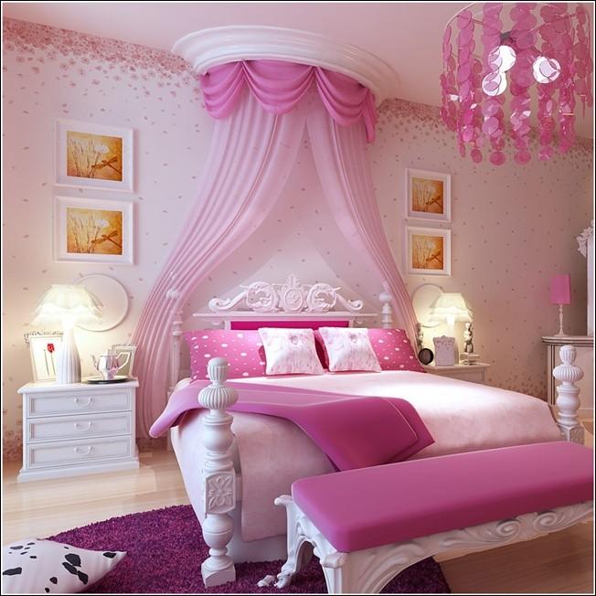بالصور ديكورات غرف نوم أطفال بنات باللون الوردي - غرفة نوم ناعمة مع تاج