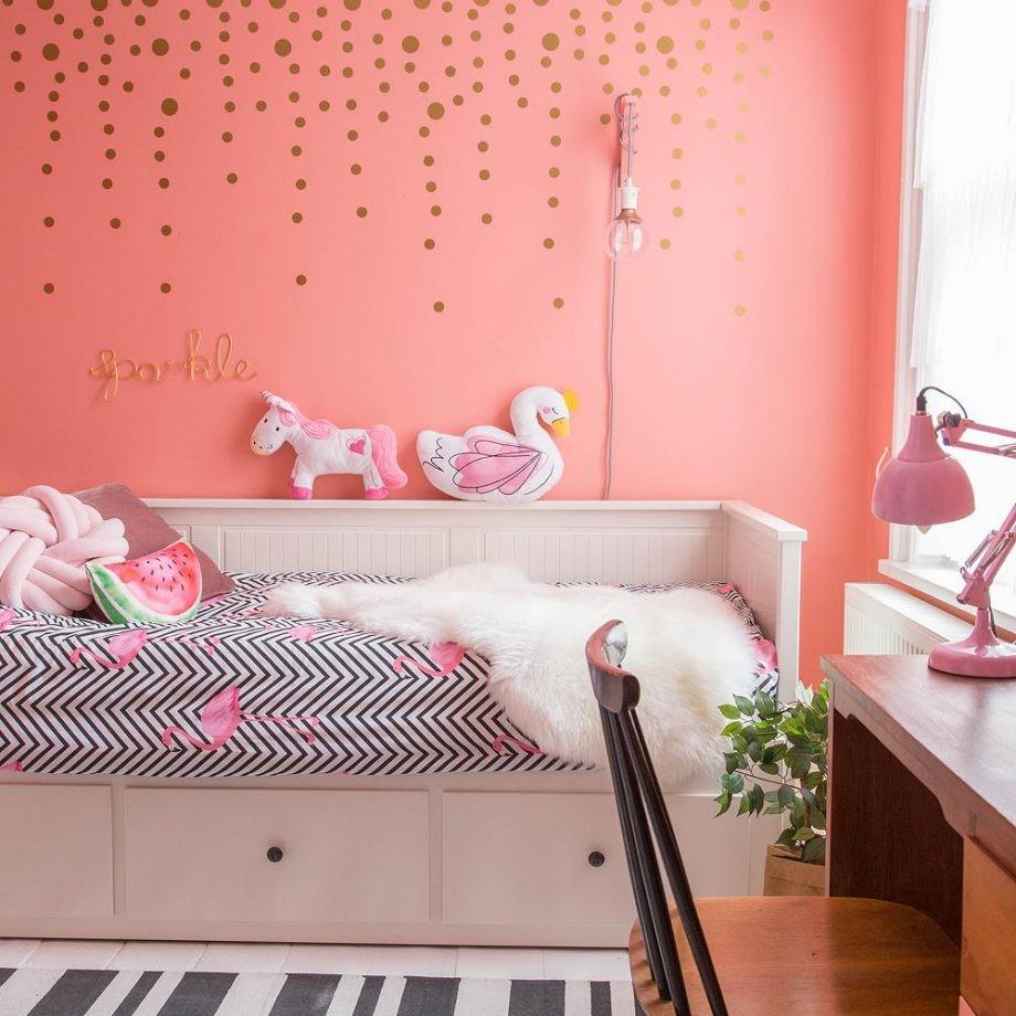 بالصور ديكورات غرف نوم أطفال بنات باللون الوردي - غرفة نوم وردي مودرن