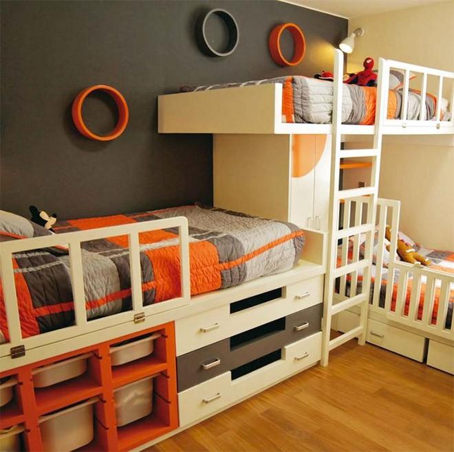 أشكال غرف نوم أطفال ثلاث سراير - ثلاث سراير مع وحدات تخزين