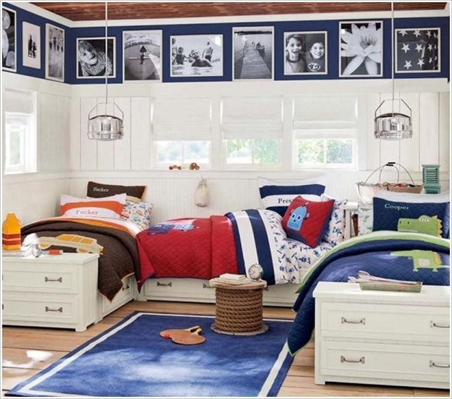 أشكال غرف نوم أطفال ثلاث سراير - ثلاث سراير على شكل حرف U