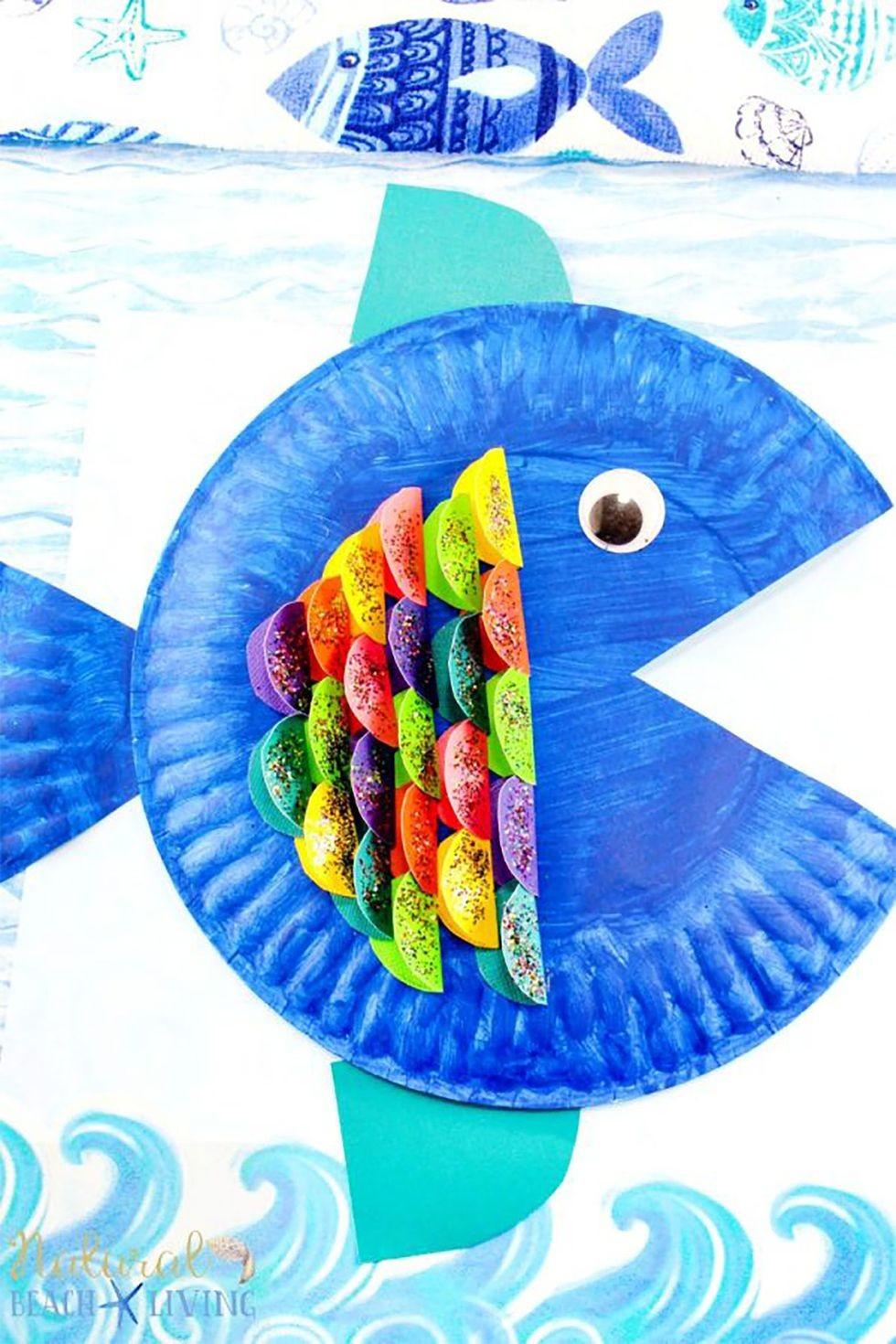 حرف يدوية للأطفال - سمكة قوس قزح من الورق