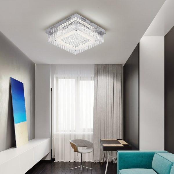 أشكال ديكورات أسقف جبس بسيطة - نجفة مودرن بتصميم مربع