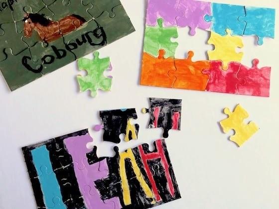 طريقة عمل ألعاب أطفال صغار في المنزل - بازل مصنوع يدويًا للأطفال