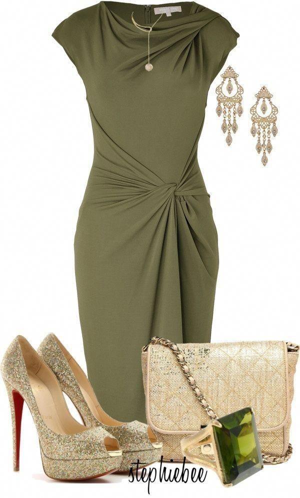 ملابس للسهرة - فستان سهرة قصير باللون الزيتي