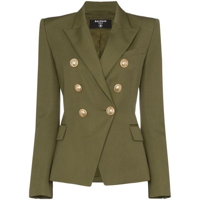 ملابس للسهرة - البليزر الزيتي مع الأزرار الذهبية