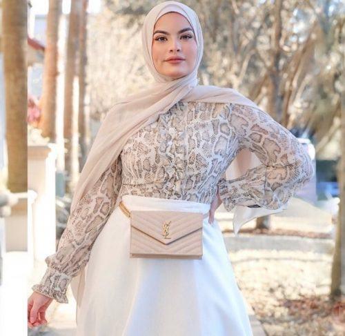 ملابس للسهرة - لفة حجاب بسيطة للسهرات