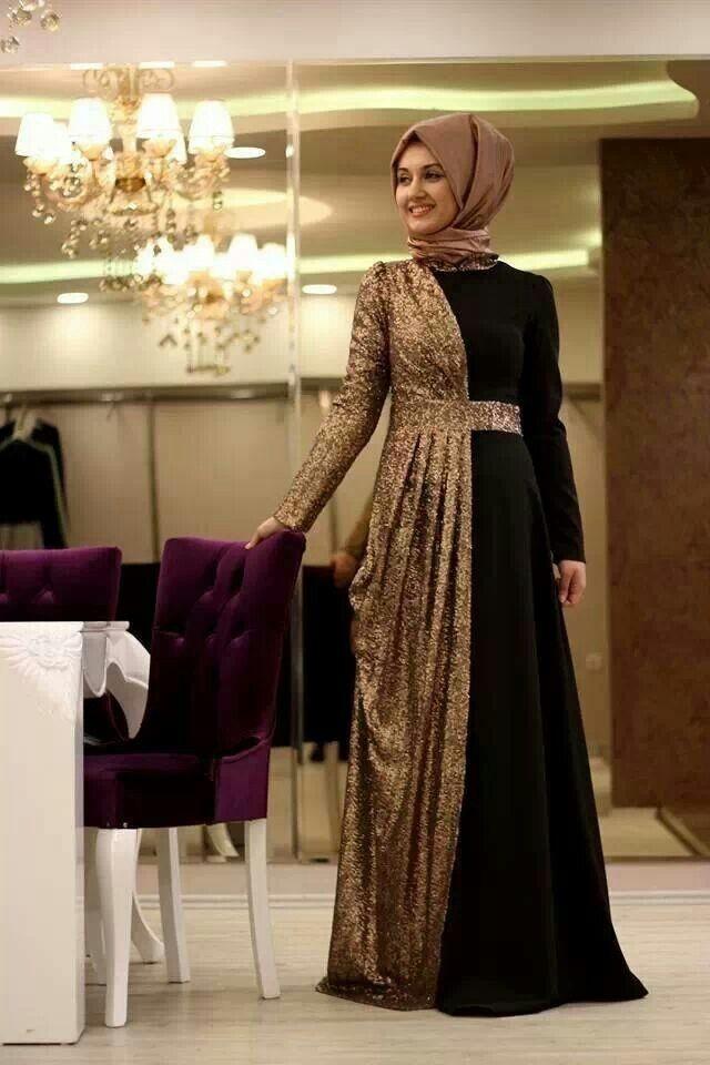 ملابس للسهرة - لفة حجاب تركي للسهرات