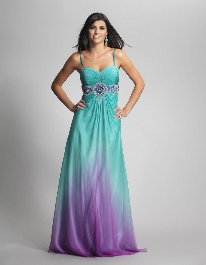 تصميم فستان سهرة - تصميم فستان سهرة بالبنفسجي والتركواز