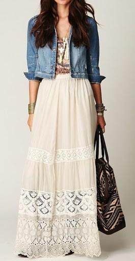 طرق لبس الجاكيت الجينز مع الجونلة - الجاكيت الجينز مع الجيبة الشيفون