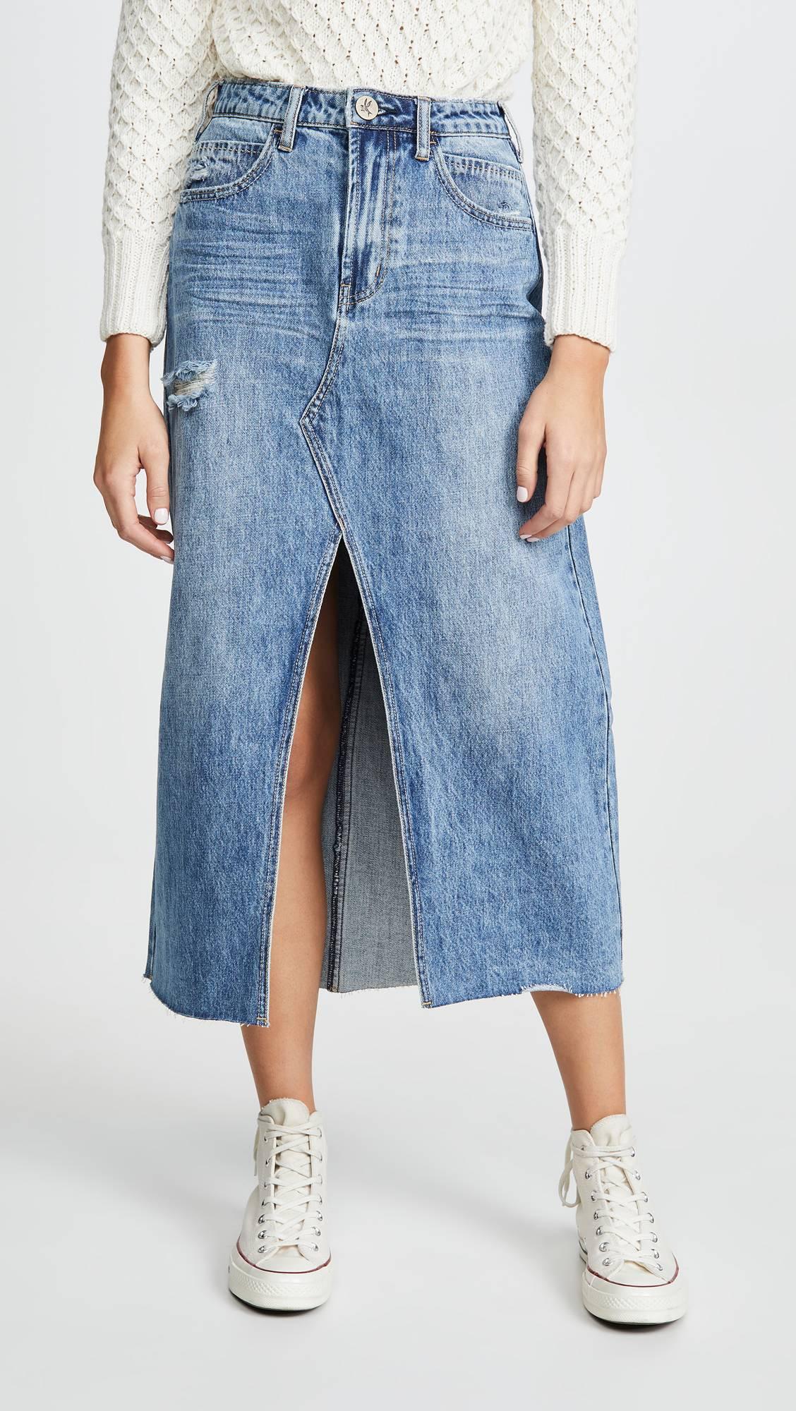 احدث موديلات الجيبات 2020 - جيبة جينز بها فتحت من الأمام
