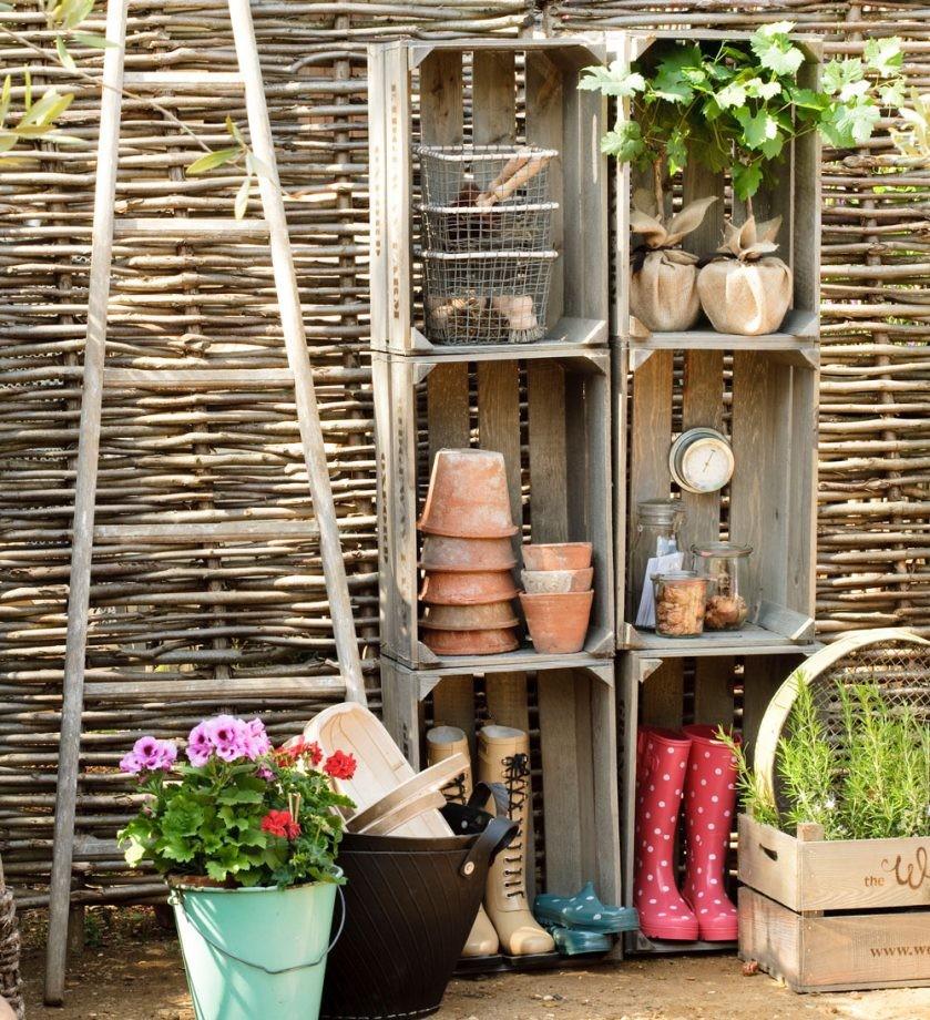 تصميم حديقة المنزل - صناديق خشب