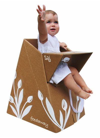 صنع اثاث المنزل بالكرتون - كرسي مرتفع للطفل