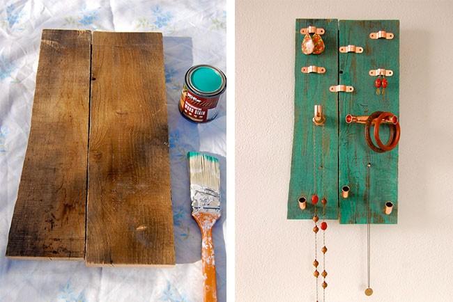 أفكار ديكور للحائط - حامل خشبي للمجوهرات