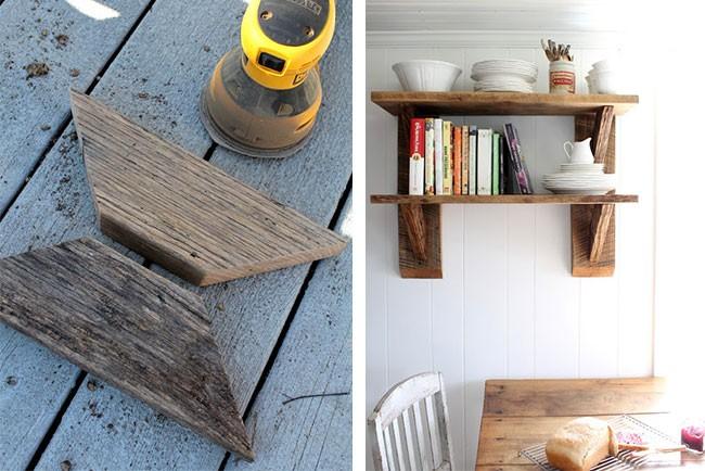 أفكار ديكور للحائط - أرفف خشبية
