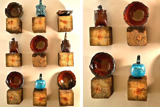 أفكار ديكور للحائط - رفوف خشب للفخار