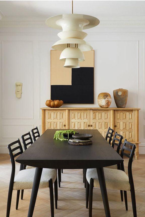 غرفة سفرة مودرن كاملة ـ سفرة سوداء ببوفيه خشبي