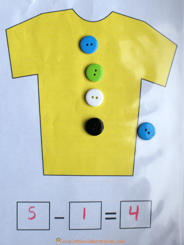 تعليم الطرح للأطفال ـ لعبة أزرار القميص