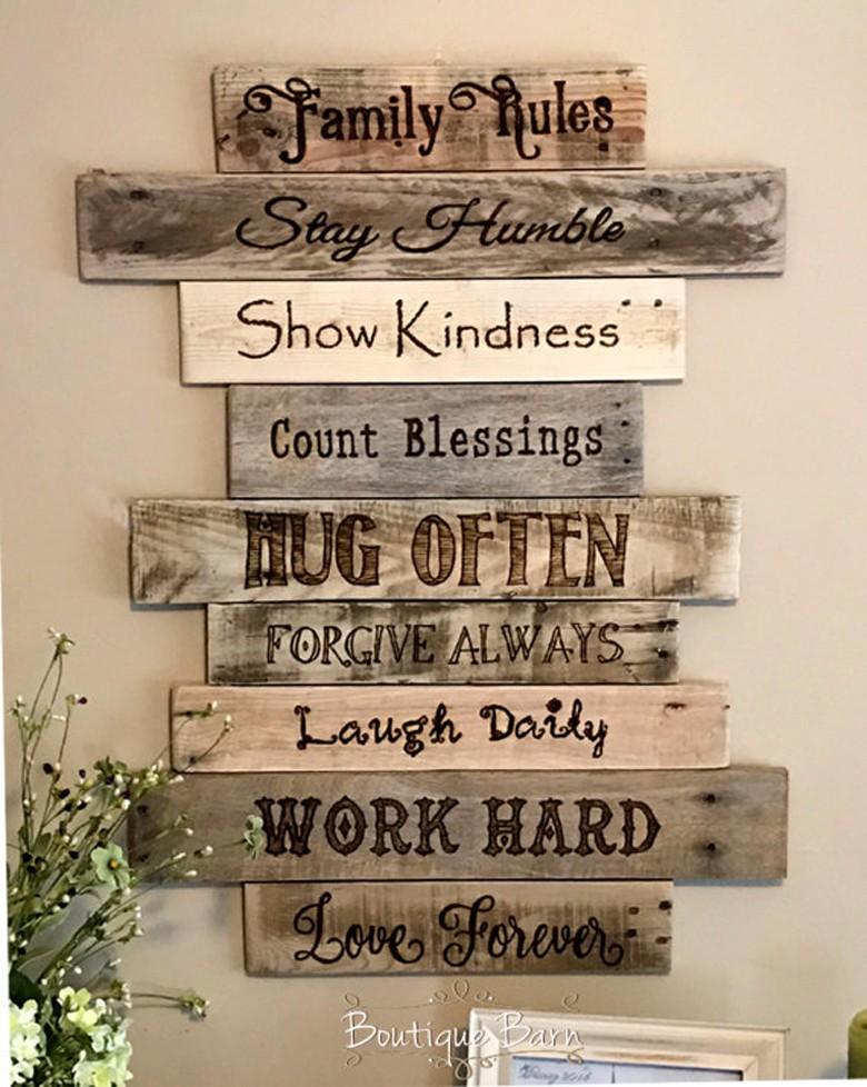 ديكورات خشبية للحائط ـ تابلوه قواعد الأسرة
