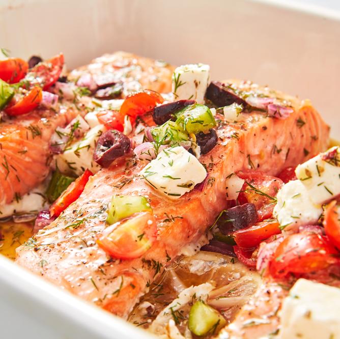 السمك السلمون ـ طريقة عمل السمك السلمون اليوناني