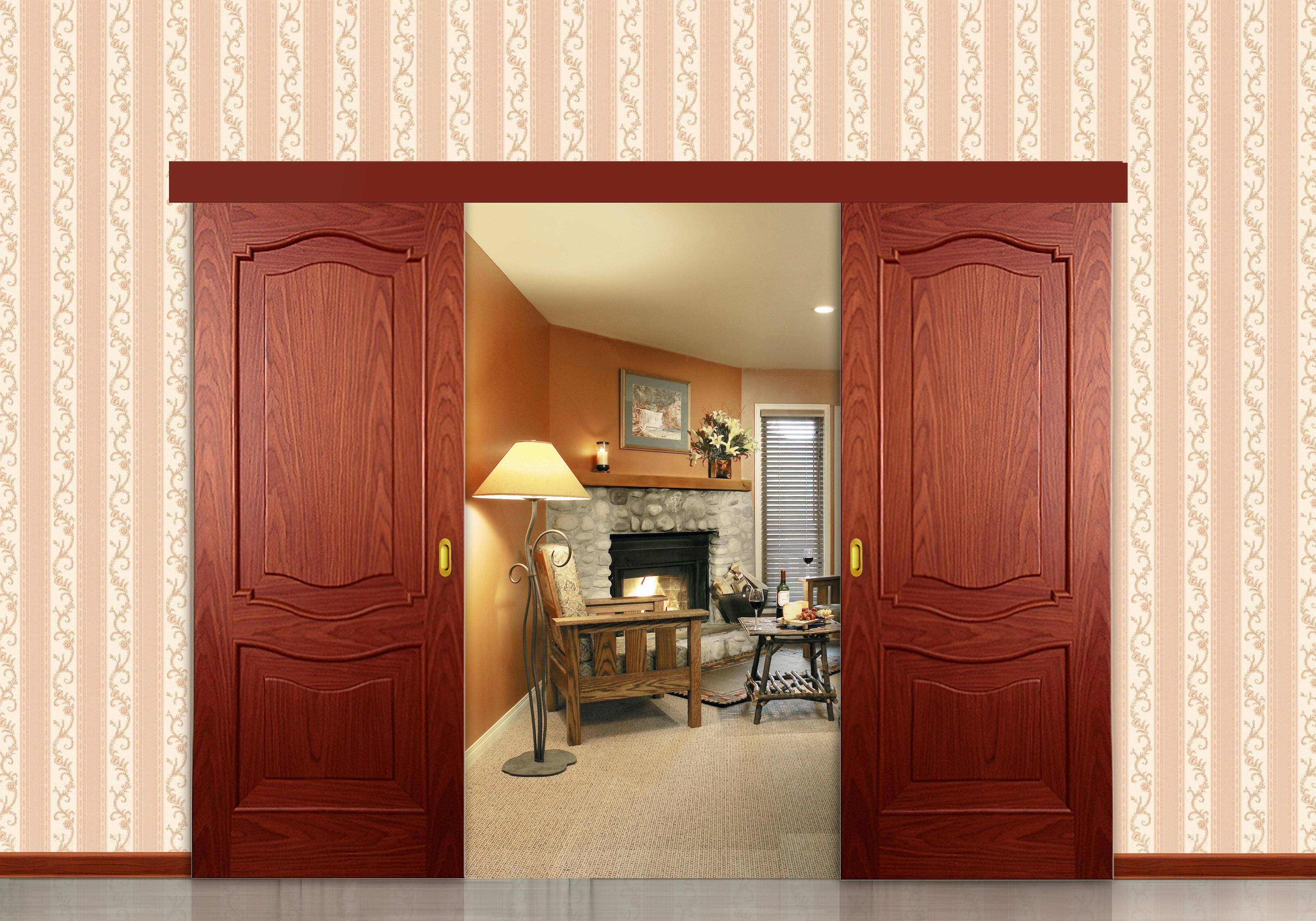 أشكال أبواب جرارة داخل المنزل ـ باب جرار خشب كبير قطعتين